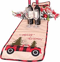 Bsopem Christmas Table Runner, Linen Fabric Table