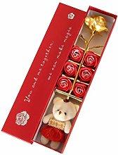 BSTCAR Flower Bear Gift Box, Gold Foil Rose Soap
