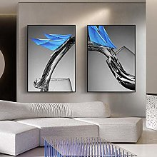 bstract Blue Sailboat Canvas Painting Poster Print
