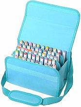 BU-SOH Markers 60 Slots Marker Pen Case PU Leather