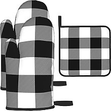 Buffalo Check Black White Oven Mitts and Pot