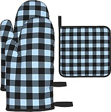Buffalo Plaid Blue Black Oven Mitts and Pot