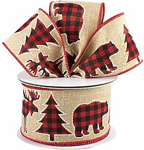Buffalo Plaid Moose Christmas Ribbon - 2 1/2""