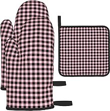 Buffalo Plaid Pink Black Oven Mitts and Pot