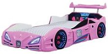 Buggati Veron Childrens Car Bed In Pink With
