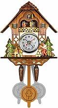 BuGu-MM Antique Wooden Cuckoo Wall Clock Bird Time