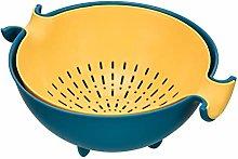 BUIDI Kitchen Double Drain Basket Bowl Rice