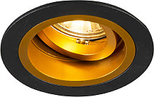 Built-in spot round black with gold swivel and
