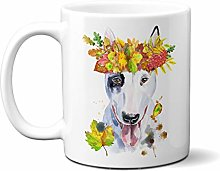 Bull Terrier with Roses in The Hair - White 15oz