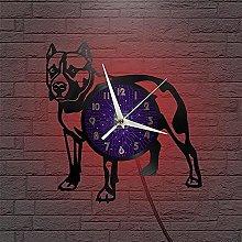 Bulldog theme vinyl record wall clock kitchen home