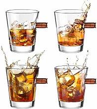 Bullet Shot Glasses Set of 4, Kollea Whiskey Glass
