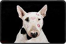 Bullterrier With Kiss Lip Doormat Rug Easy to