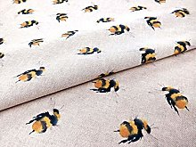 Bumble Bees Poly Linen Fabric by The Metre -