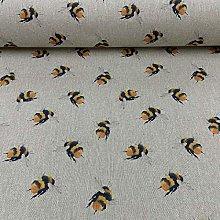 Bumblebee Bees Linen 140cm Wide Designer Material