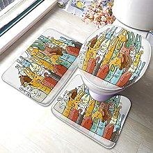 Bunny Bathmat,Funny Cartoon Cute Rabbits Family