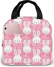 Bunny On Dark Pink Insulated Lunch Bag Large