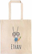 Bunny Wearing Glasses Personalized Egg Hunt Bag