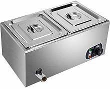 BuoQua 220V Commercial Food Warmer 2 Tray Electric