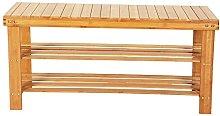 BuPin Shoe Rack,90cm Strip Pattern 3 Tiers Bamboo