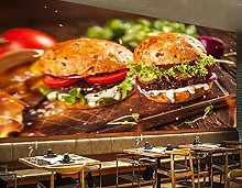 Burger with Lettuce and Cheese Food 3D Wallpaper