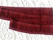 BURGUNDY Brush Fringe Tassels Textile Cut Pillow