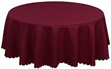 Burgundy Polyester Round Tablecloth with Water/Oil