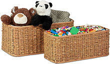 Buri Basket Set, 2 Woven Decorative Boxes, Lined