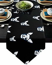 Burlap Table Runner Animal Chihuahua Dog with
