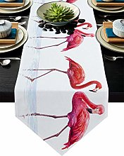 Burlap Table Runner Animal Flamingo with Red