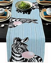 Burlap Table Runner Animal Zebra with Pink Bubble