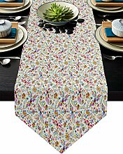 Burlap Table Runner Colorful Birds with Feather