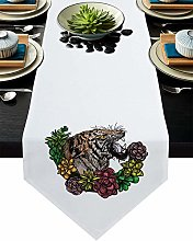 Burlap Table Runner Colorful Flowers with Green