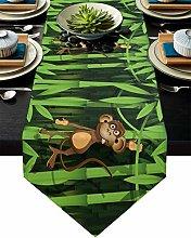 Burlap Table Runner for Party/Dinner Cartoon Cute