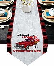 Burlap Table Runner for Party/Dinner Red Grid