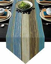 Burlap Table Runner for Party/Dinner Vintage Blue
