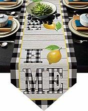 Burlap Table Runner Fresh Fruit Lemon with Black
