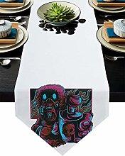 Burlap Table Runner Street Graffiti Animal with