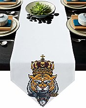 Burlap Table Runner Tiger with Crown and Dagger on