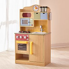 Burlywood Wooden Kitchen For Kids Toy Kitchen With