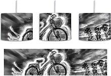 Burning Bike 1-Light Drum Pendant East Urban Home