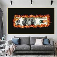 Burning Dollar Canvas Painting print Modern