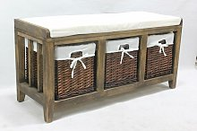 Burnt Brown Hallway Bench Seat 3 Basket Pull-Out