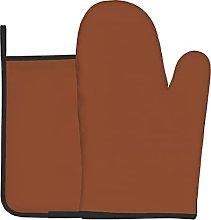 Burnt Orange Simple Color Oven Gloves Heat For Bbq
