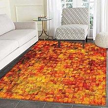 Burnt Orange small rug Carpett Vintage Mosaic