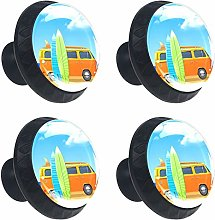 Bus with Surf Boards Round Drawer Knob Pull Handle