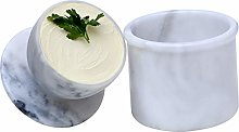 Butter Dish Cover Pot White Handmade Marble French
