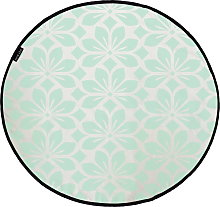 Butter Kings Round Rug - Mint Leaves