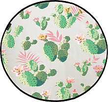 Butter Kings Round Rug - Romance with Cactus