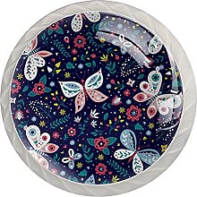 Butterflies and Flowers 4PCS Round Shape Cabinet