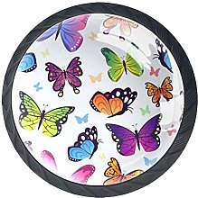 Butterflies Crystal Glass Round Cabinet knob with